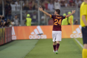 ROME, ITALY - SEPTEMBER 16: Alessandro Florenzi of AS Roma celebrates after scoring the goal during the UEFA Champions League Group E match between AS Roma and FC Barcelona on September 16, 2015 in Rome, Italy. (Photo by Luciano Rossi/AS Roma via Getty Images)