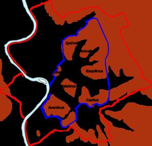 Romas bymurer markert med blått og den ytre Aurelia muren med rødt