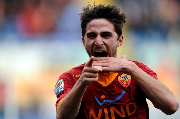 AS+Roma+midfielder+Fabio+Borini+celebrates+after+scoring+against+Parma+during+their+Serie+A++football+match+in+Rome's+Olympic+Stadium+on+Febuary+19,+2012